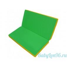 Мат гимнастический 1*1*0,05м складной цв.зеленый-желтый