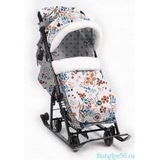 Санки-коляска Ника детям НД7-5/2 (цветочный светлый)